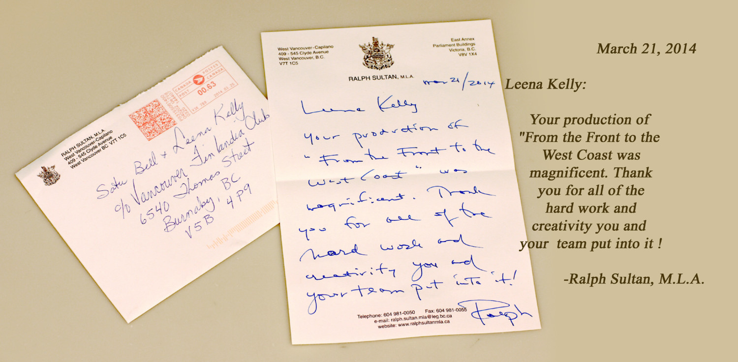 Ralph Sultan's letter + text